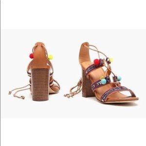 $90 Block Heel Pom Pom Sandals Brown Size 7